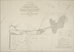 PLAN of the LANDS at PADDINGTON Proposed to be Leased and Exchanged by the Bishop of London and his Lessees AND THE Grand JUNCTION CANAL Company.